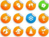 Seasons klistermärken. — Stockvektor