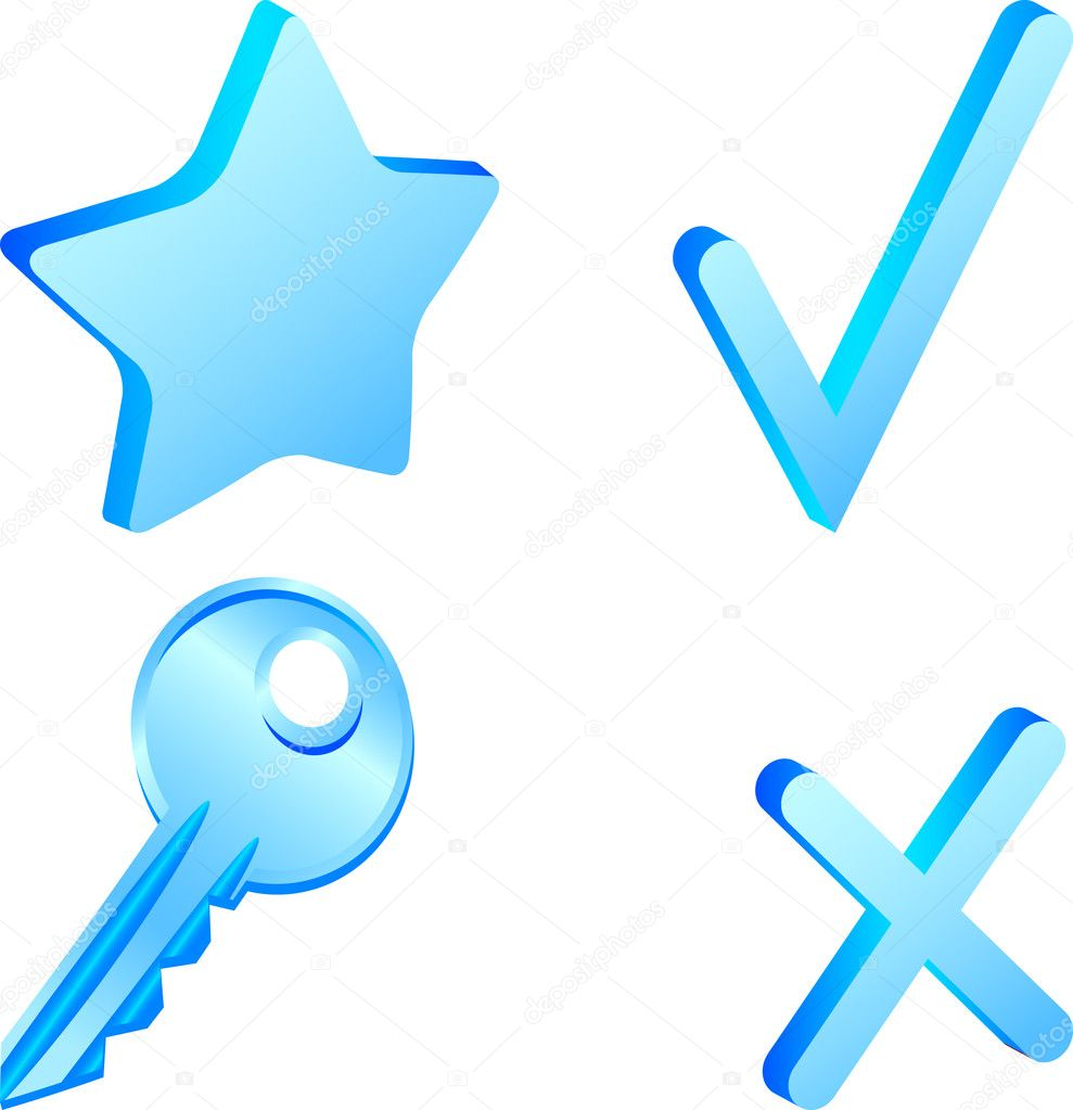 Set of 3d simple icons. Vector illustration. — Stock Vector #5378449