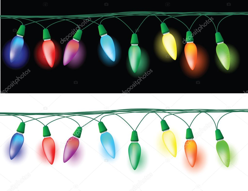 Illustrations of christmas light decorations, glowing effect in the dark and white background. — Stock Vector #4495602