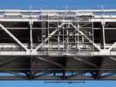 Close up of San Francisco Bay Bridge middle section of double de — Stock Photo
