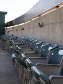 Row of seats in the upperdeck of stadium — Stock Photo