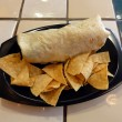 Burrito and Chips on a Plastic plate — Stock Photo