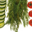 Stock Photo: Tomatoes, cucumbers and dill