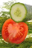 Tomato and cucumber — Stock Photo