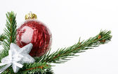 Red christmas bauble & silver star — Stock Photo