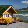 Yellow wooden house with grass roof — Stock Photo #4356877