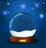Realistic vector snow globe with wooden texture — Stock Vector