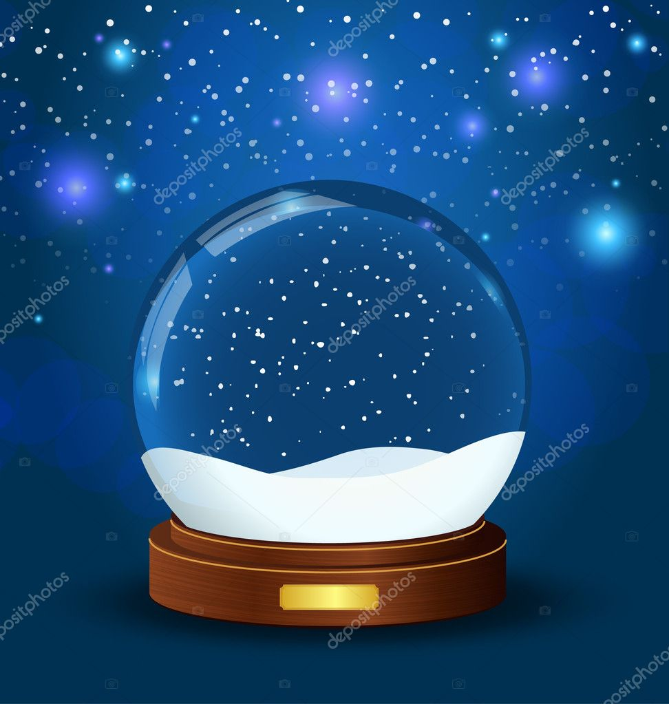 Realistic vector snow globe with wooden texture  Stock Vector #4157842