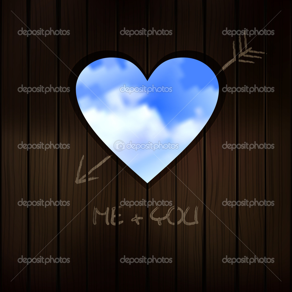 	heart shape cut into wooden door with scribble writing of love  Stock Vector #4589053