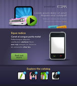 Mobile stuff website template — Stock Vector