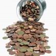 Money jar with Euro coins — Stock Photo