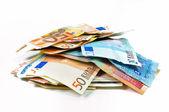 Euro banknot ve diğer para birimleri — Stok fotoğraf