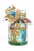 Money jar with Euro currency — Stock Photo