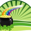 Stock Vector: Pot of gold with rainbow