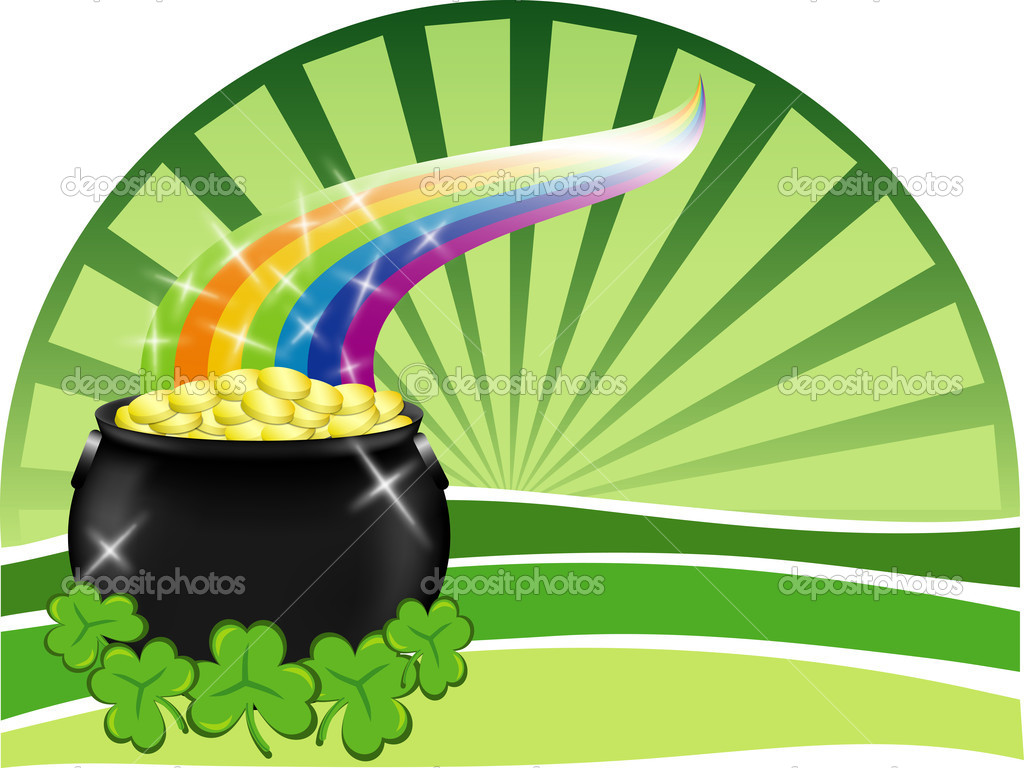 Rainbow Pot of Gold Wallpaper a Big Pot of Gold With Shiny