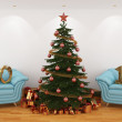 Stock Photo: Christmas tree in interior with blue leathern chairs, and 20