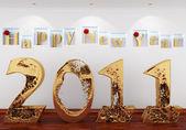 Feliz año nuevo 2011 del oro agua en el interior, debajo de t — Foto de Stock