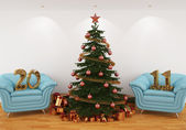 Christmas tree in the interior with blue leathern chairs, and 20 — Stock Photo