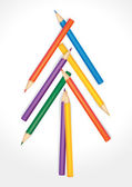 Christmas tree composed of colored pencils — Stock Vector