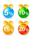 Christmas balls discount — Stock Vector
