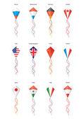 Flags, kite flying — Stock Vector