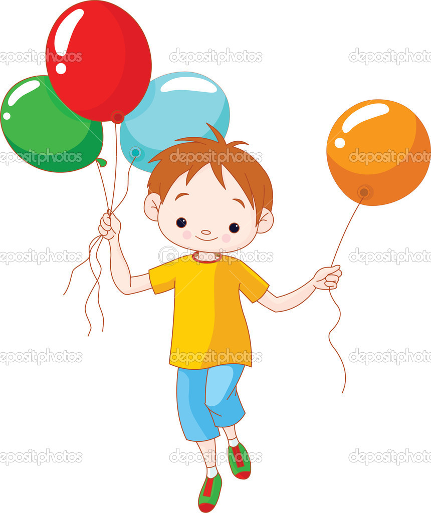 Cute; little boy running with balloons; balloon;  Stock Vector #3946683