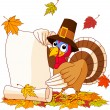 Thanksgiving turkey holding scroll - Stock Vector