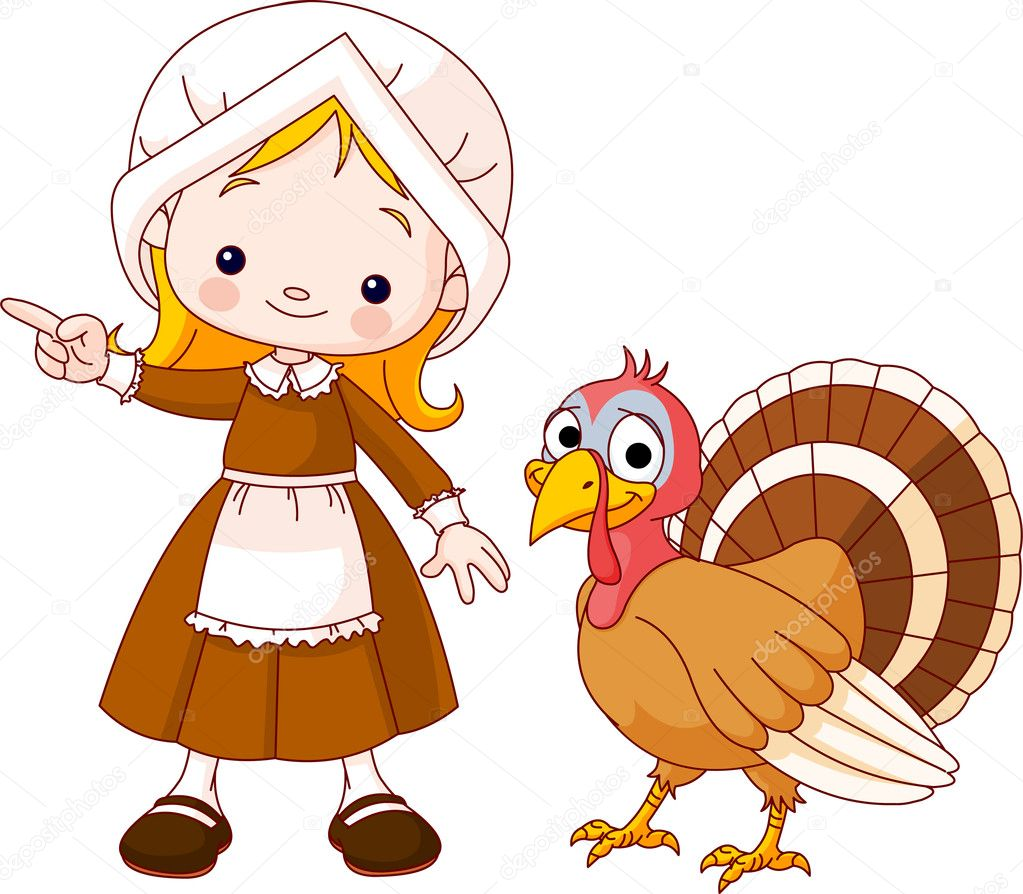 Illustration of Thanksgiving Pilgrim girl pointing and turkey — Stock Vector #4092617