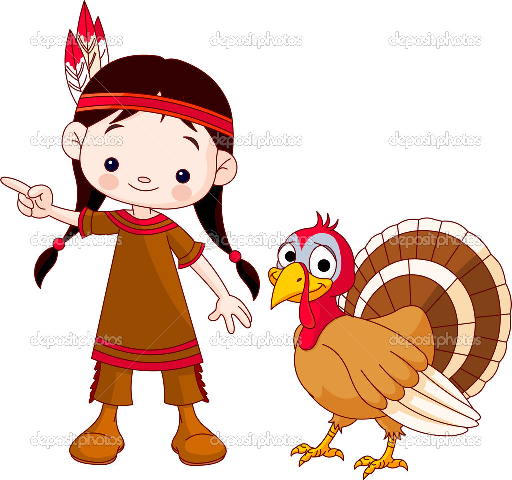 Illustration of Thanksgiving Indian  girl pointing and turkey — Stock Vector #4092618