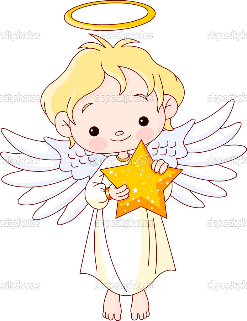 Cute baby angel with Christmas star   Stock Vector #4128902