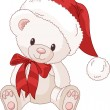 Cute Teddy Bear with Santa - Stock Vector