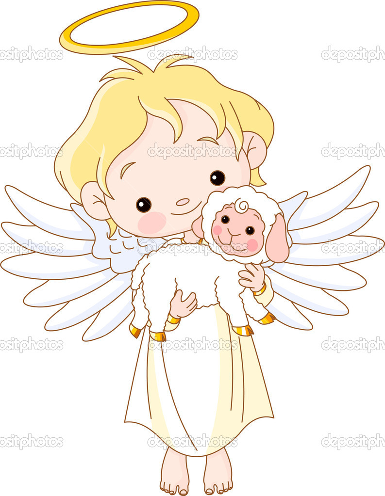 Christian Concept of angel holding sheep — Stock Vector #4171290