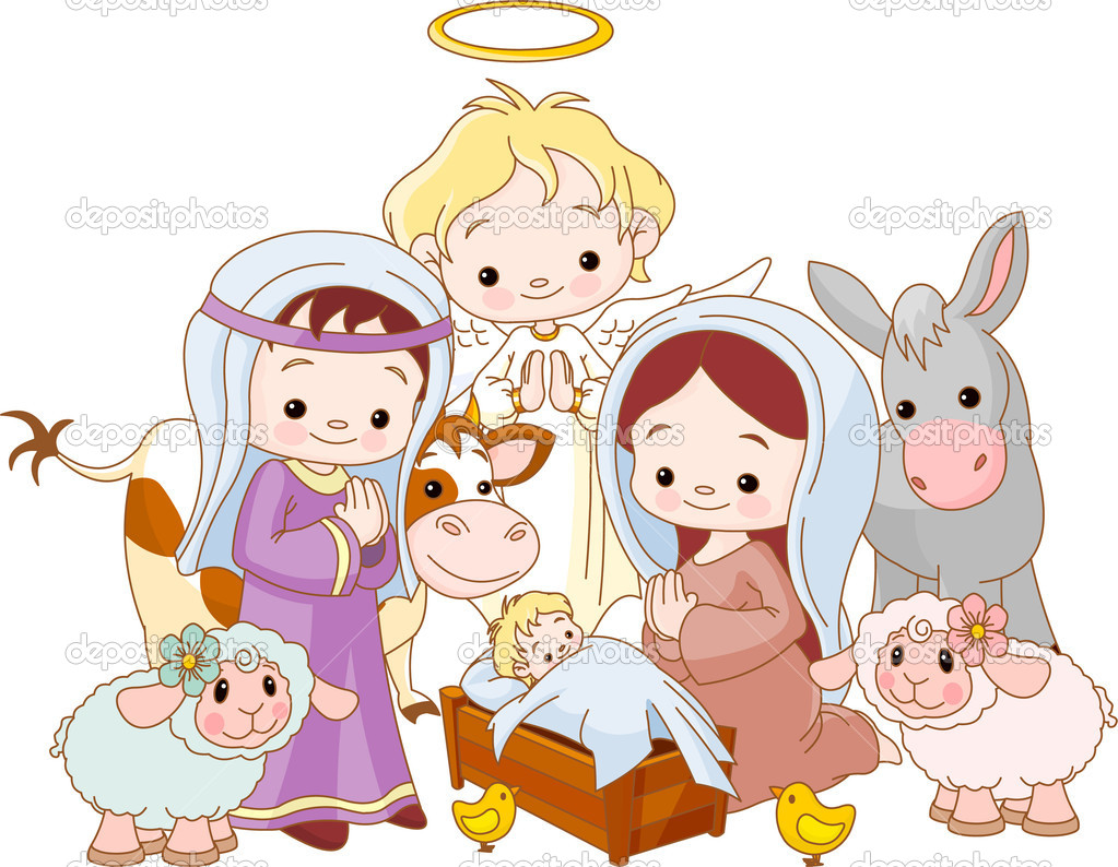 Christmas  nativity scene with holy family and angel — Imagens vectoriais em stock #4171302