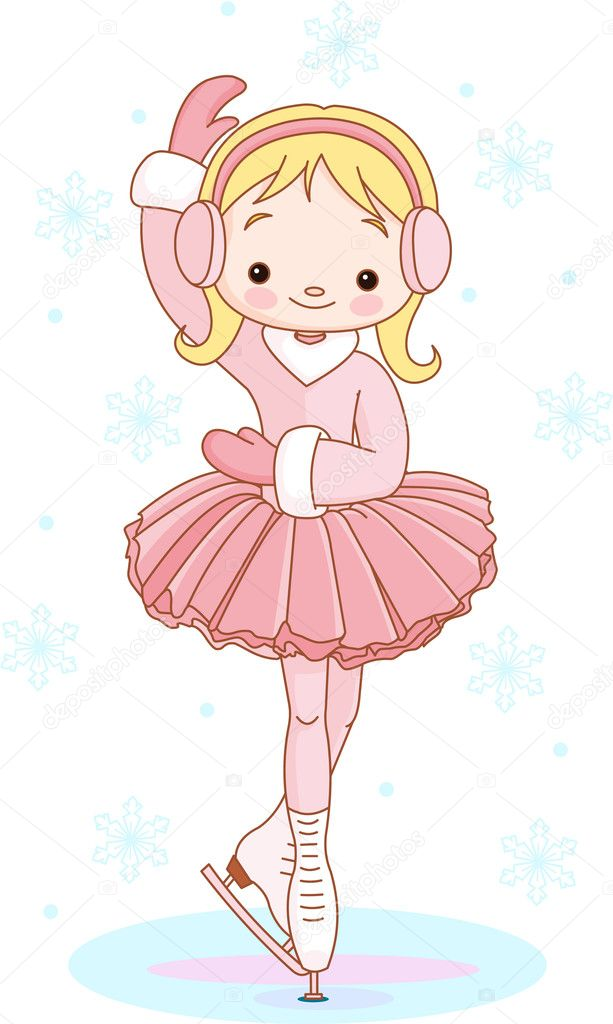 Illustration of cute Girl on ice skates — Stock Vector #4290067