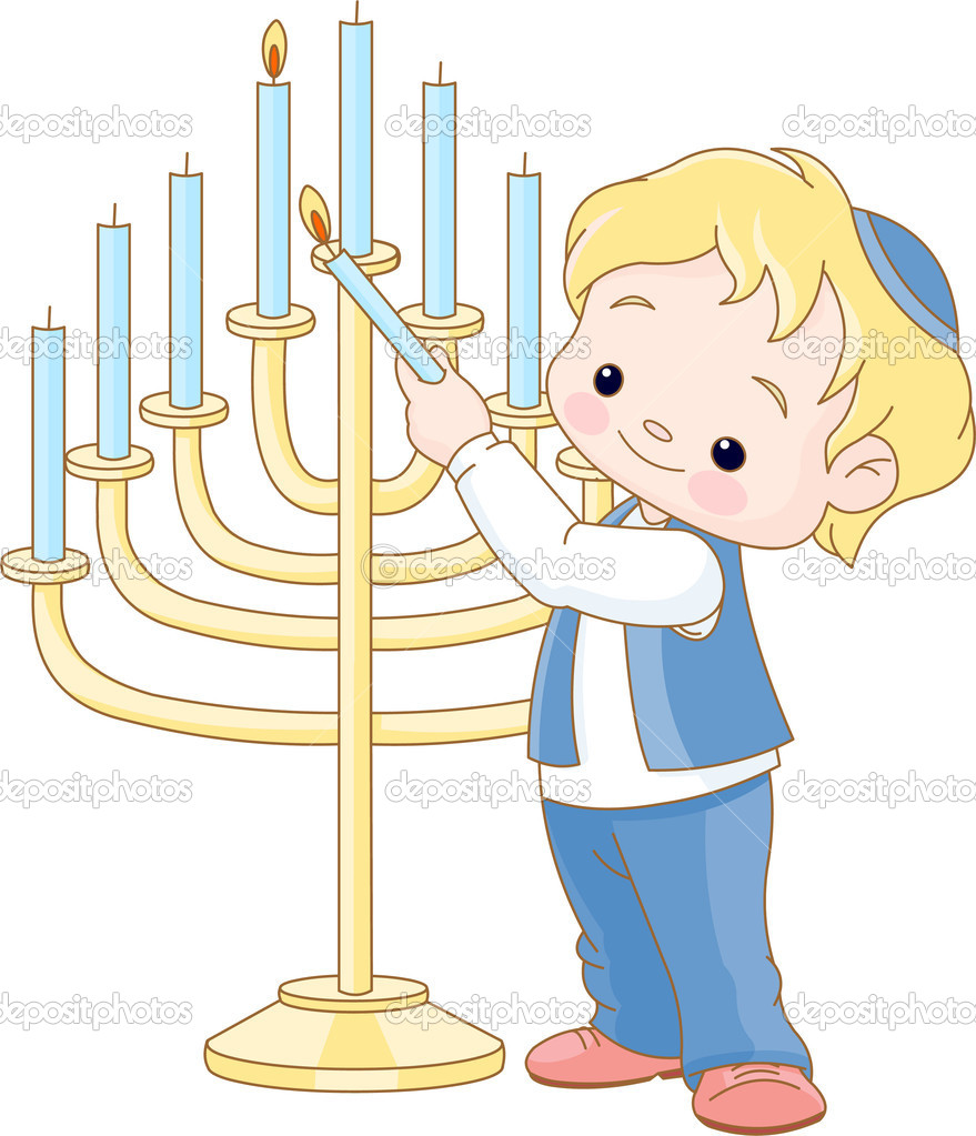 Cute  Jewish boy lighting Chanukah menorah — Stock Vector #4290078