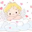Cute Cupid lying on a cloud - Stock Vector