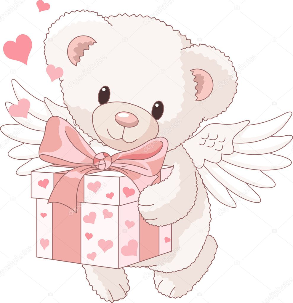 Cute Teddy bear angel bringing the love gift  Stock Vector #4513058