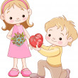 Boy giving hearts and flowers to a girl - Stock Vector
