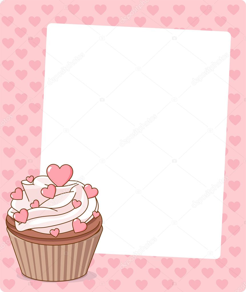 Illustration of sweet  beautiful cupcake on pink background   — Stock Vector #4564290