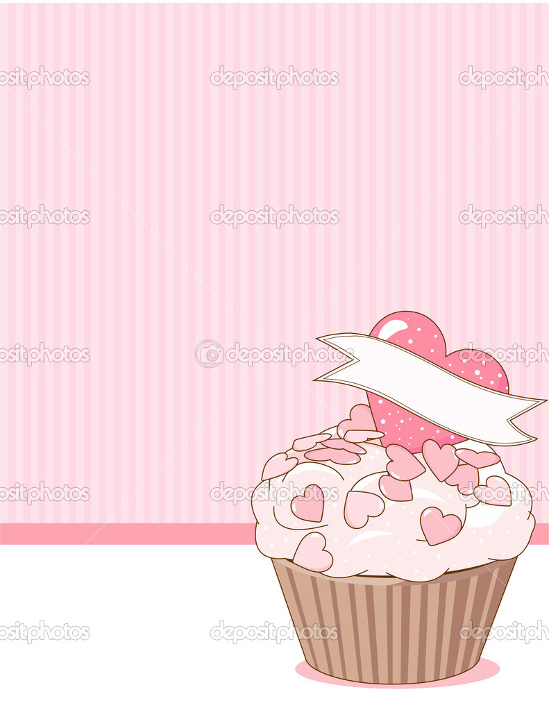 Illustration of sweet  beautiful cupcake on pink background   — Stock Vector #4593137