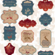 Vector de stock : Grunge vintage label set
