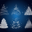 Set of the different christmas trees — Imagen vectorial