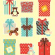 Vintage children`s gifts — Stock Vector