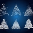 Set of the different christmas trees — Vector de stock