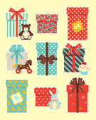 Vintage children`s gifts — Vector de stock