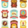Stock Vector: Baby labels with place for your text