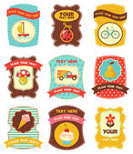 Baby labels with place for your text — Cтоковый вектор
