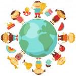 kinderen over de hele wereld — Stockvector
