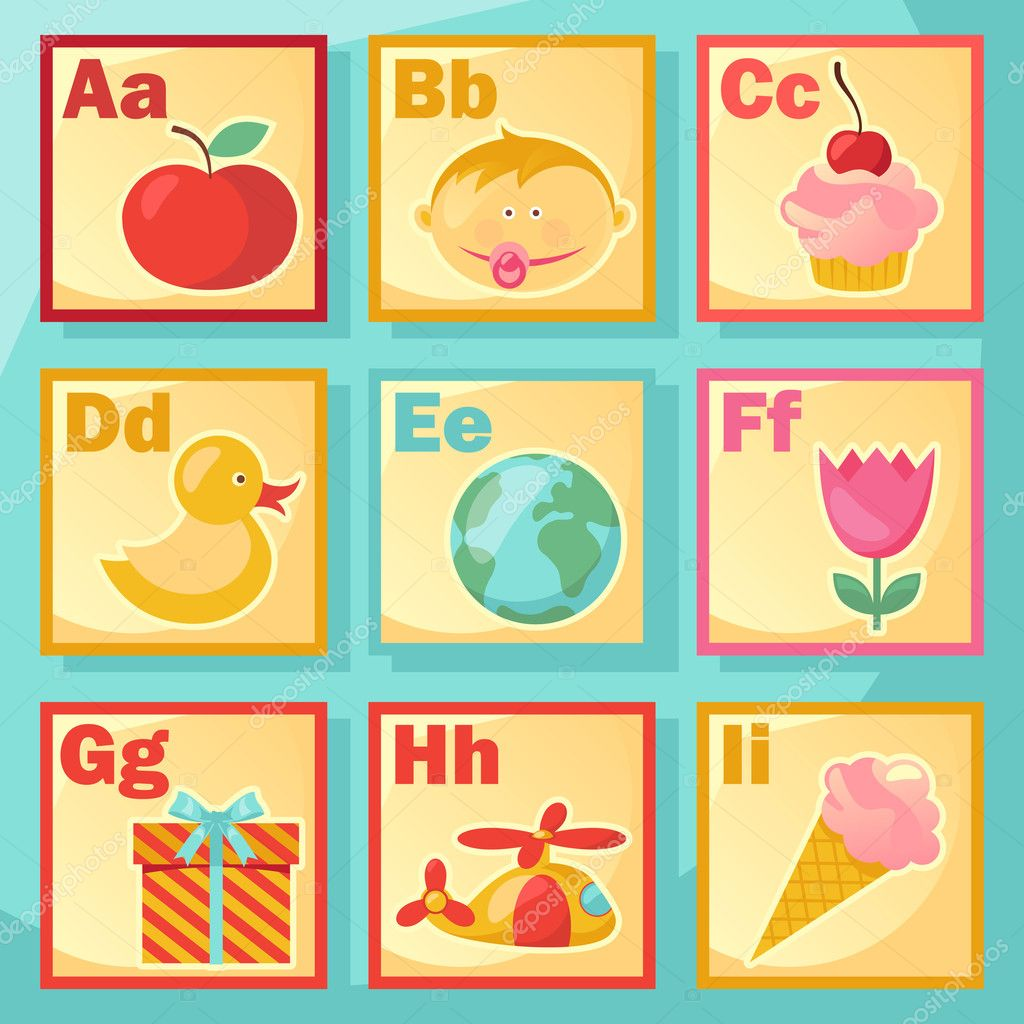 Cute cartoon alphabet illustration  — Stock Vector #4909676