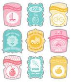 Rótulos de bebê com lugar para o seu texto — Vetorial Stock